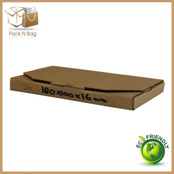 Packnbag 100 - 180x100x16mm Brown High Quality Eco Friendly Cardboard Mailing Diecut Mailer Boxes packaging Signet Australia