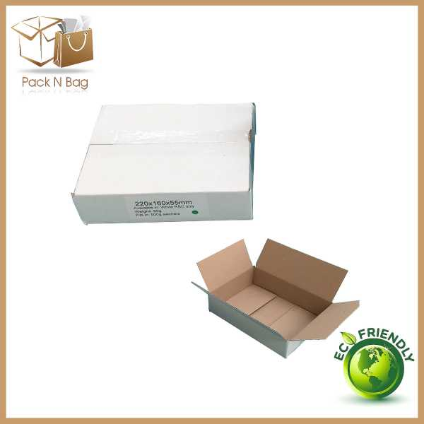 25 - 220x160x55mm  High Quality Eco Friedly White RSC Shipping Mailing Boxes Melbourne