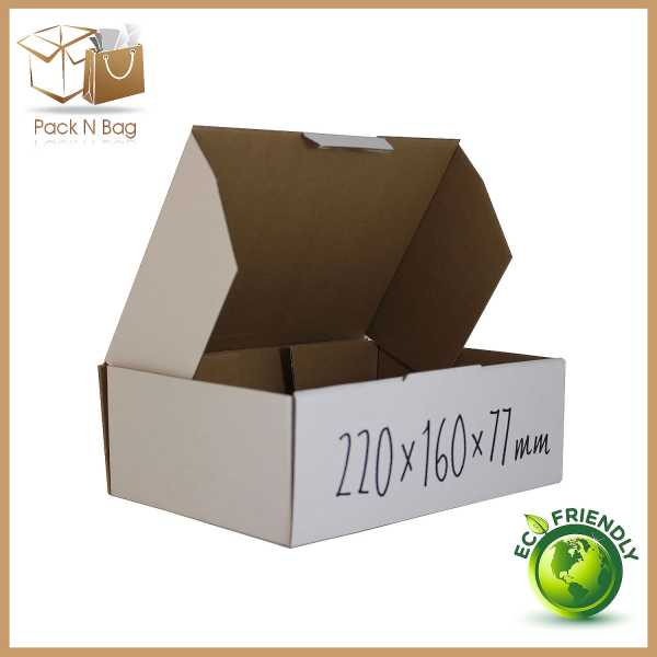 100 - 220x160x77mm  High Quality White Mailing Shipping Diecut Boxes in Melbourne BX1