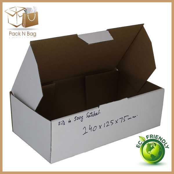 100 - 240x125x75mm  High Quality White Diecut Cardboard Shipping  Boxes In Australia