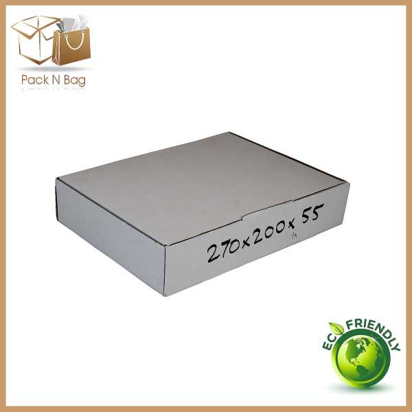 100- 270x200x55mm Industrial Packaging White Cardboard Mailing Diecut Boxes in Melbourne