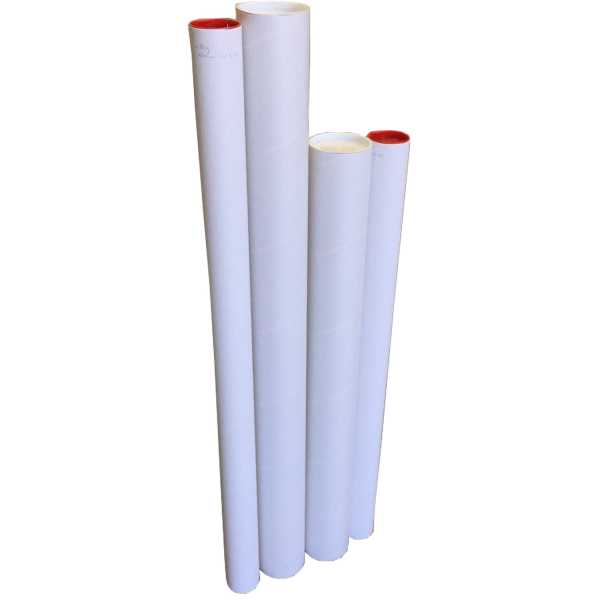 1- High Quality Mailing Tubes 660x60x1.8mm White with Red Caps Shipping In Melbourne