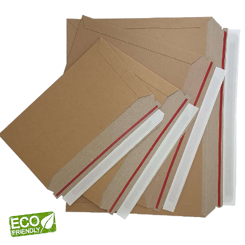 100-PK High Quality Eco Friendly DLX Size 240x128 300gsm Brown Kraft Rigid Mailers