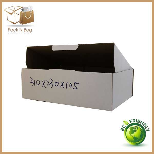 100- 310x230x105mm Best ECO Friendly White Diecut Cardboard Boxes In Melbourne