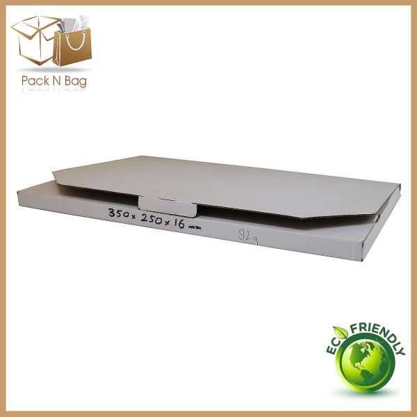 100 - 350x250x16mm Professional Packaging  White Diecut Mailing Shipping Boxes In Melbourne