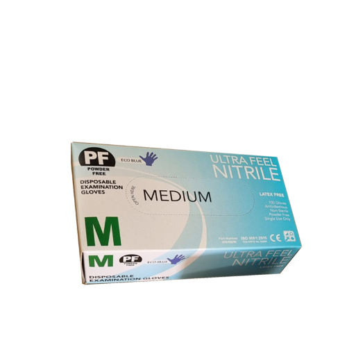 10Pk-1000pcs Medium size Ultra Feel Nitrile Eco-blue Gloves