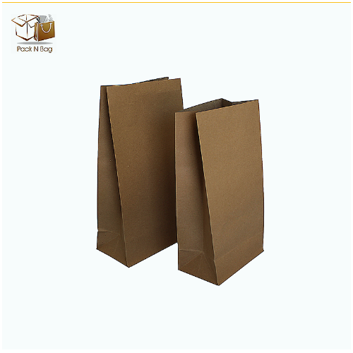 Buy 500PC - Best Kraft Paper Flat Bottom Medium Paper Bags 130x80x180mm