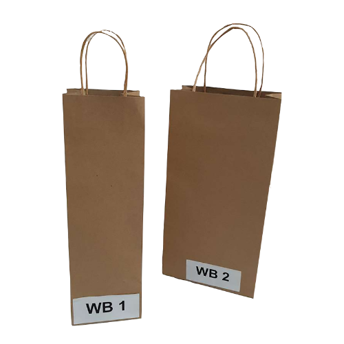 Buy 100 PK - WB2 Brown Kraft Paper Wine Bottle Bags 180x90x360mm
