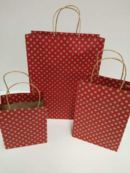 100 - High Quality Material  Gold Spot Kraft MIDI Paper Bags Polka Dots Red Base In Melbourne