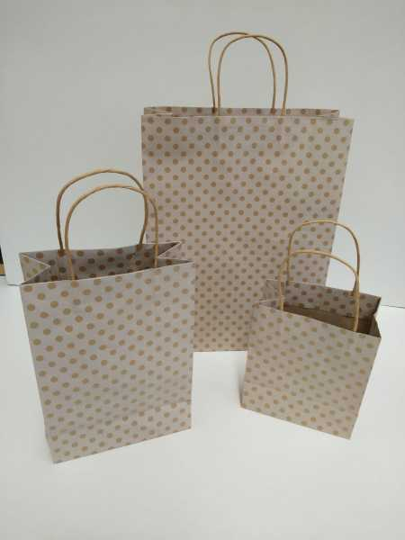 100 - High Quality Material Gold Spot Kraft Paper Junior Bags Polka Dots White Base In Melbourne